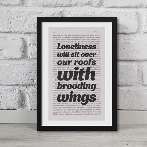 Dracula Book Page Art Loneliness Will Sit Over Our Roofs Print