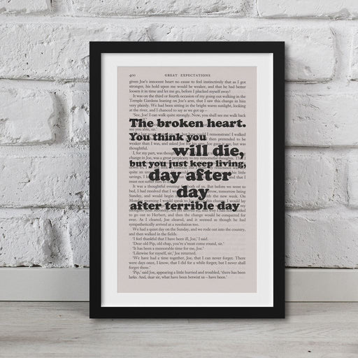 Great Expectations Book Page Art The Broken Heart  Print Quote