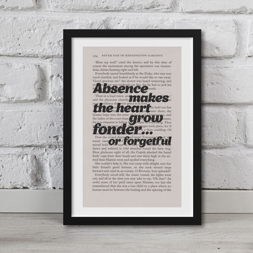 Peter Pan Book Page Art Absence Makes The Heart Grow Fonder Print
