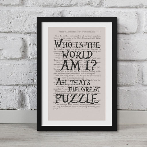 Alice In Wonderland Book Page Art Who In The Worlds Am I? Print