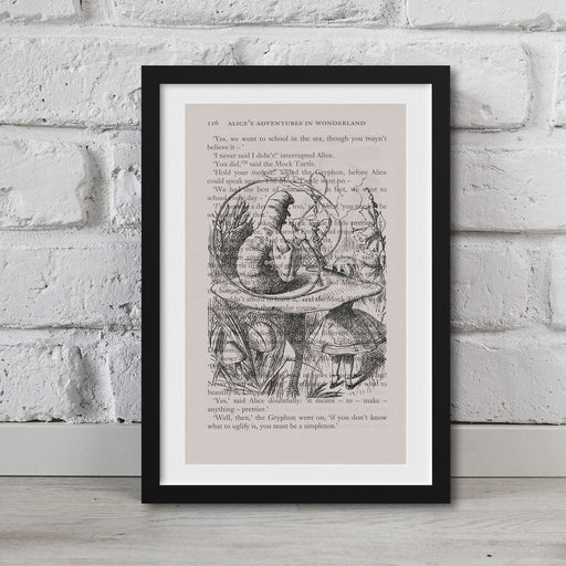 Alice In Wonderland Book Page Art Caterpillar Smoking Hookah Print