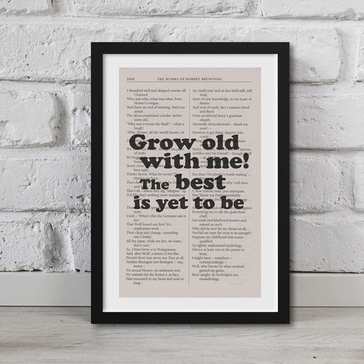The Poems Of Robert Browning Book Page Art Grow Old With Me Print