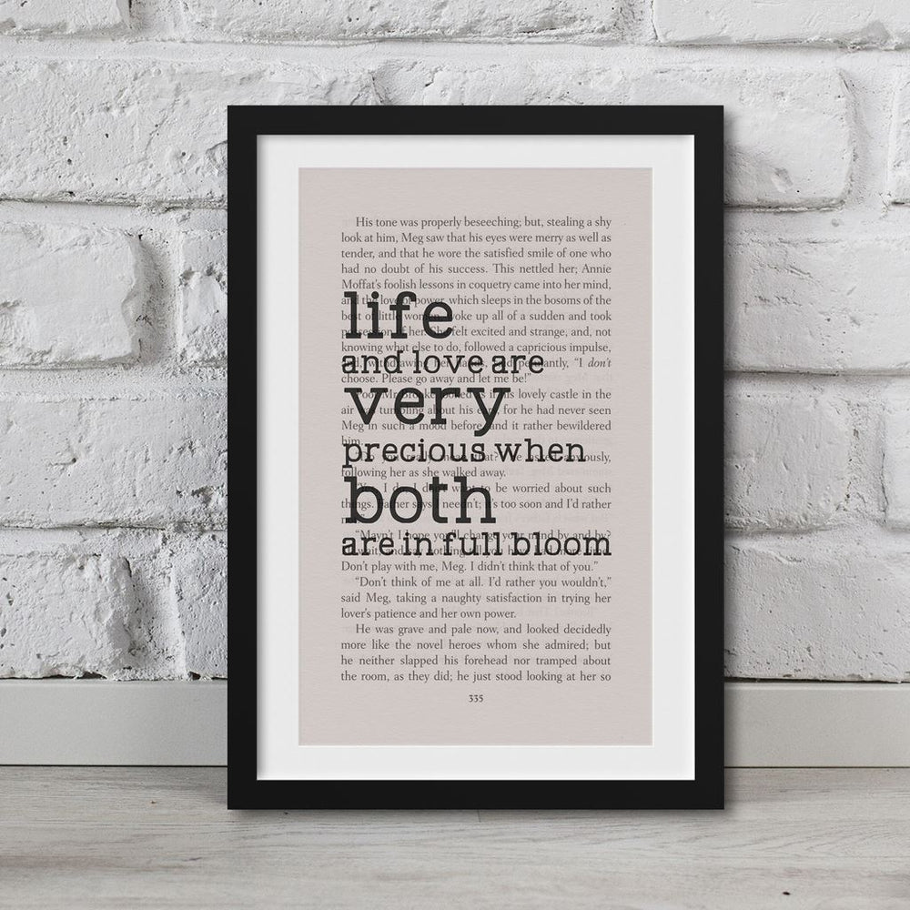 Little Women Book Page Art Life And Love Are Very Precious Print
