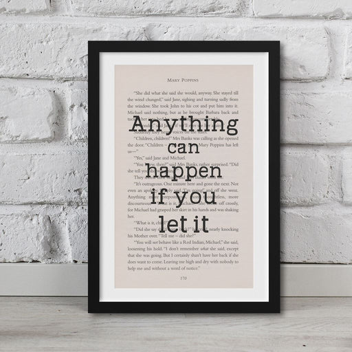Mary Poppins Book Page Art Anything Can Happen If You Let It Print