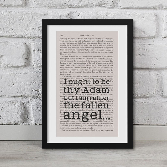 Frankenstein Quotes Book Page Art I Ought To Be Thy Adam Print
