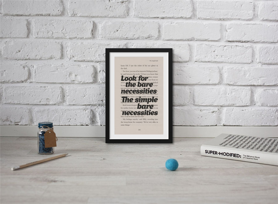 Jungle Book - Book Page Art Look For The Bare Necessities Print Quote
