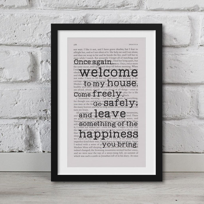 Dracula Book Page Art Once Again welcome To My House Print Quote