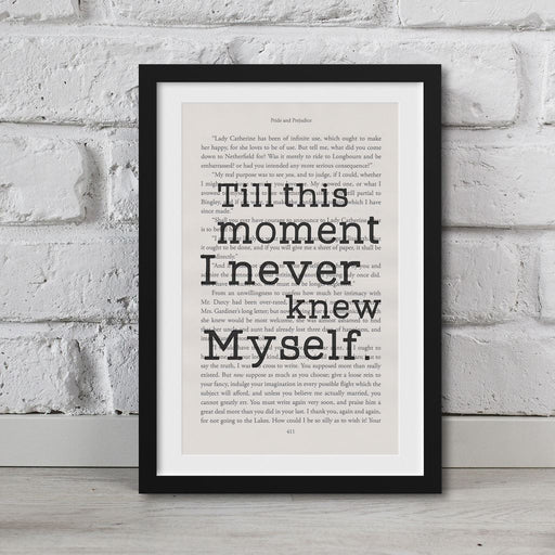 Pride And Prejudice Book Page Art I Never Knew Myself Print Quote