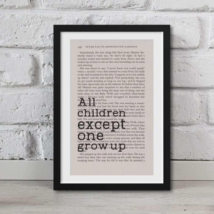 Peter Pan Book Page Art All Children, Except One, Grow Up Print
