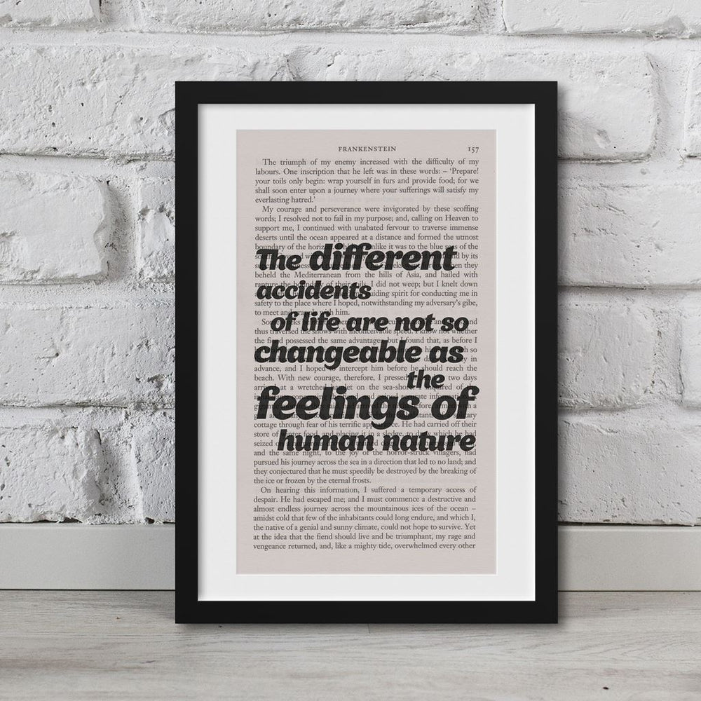 Frankenstein Quotes Book Page Art Feelings Of Human Nature Print