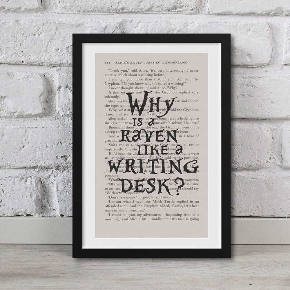 Alice In Wonderland Book Page Art Why Is A Raven Like A Writing Desk Print
