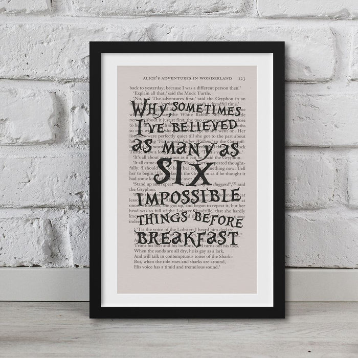 Alice In Wonderland Book Page Art Believed Six Impossible Things Print