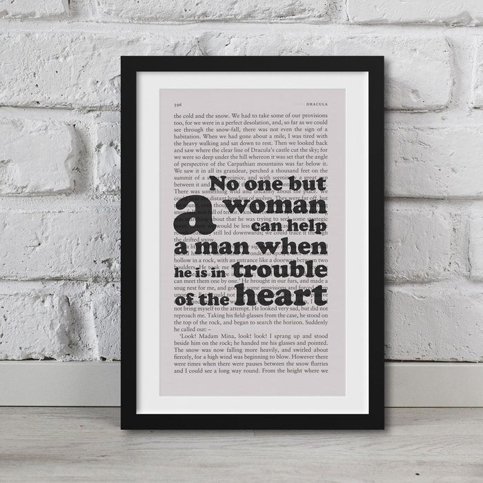 Dracula Book Page Art No One But A Woman Can Help A Man Print Quote