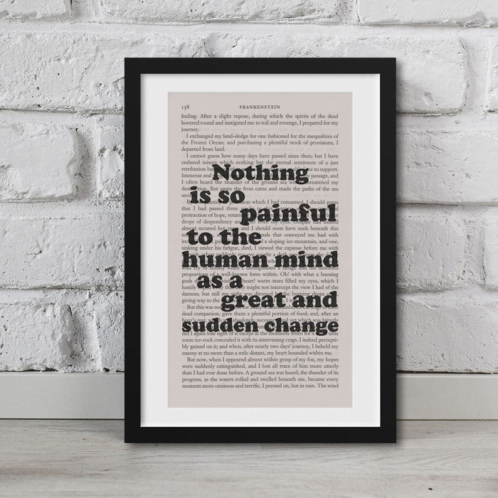 Frankenstein Quotes Book Page Art Nothing Is So Painful  Print