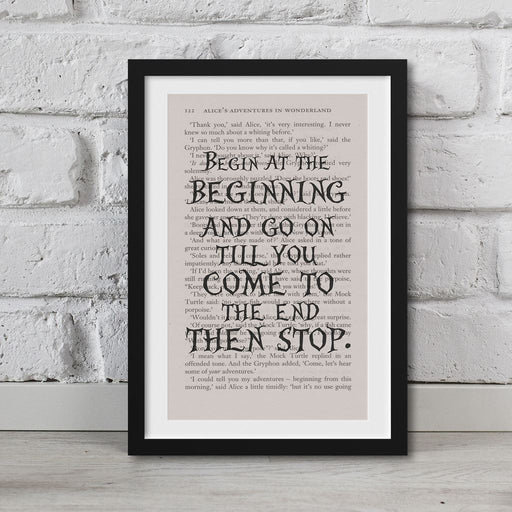 Alice In Wonderland Book Page Art Begin And The Beginning Print