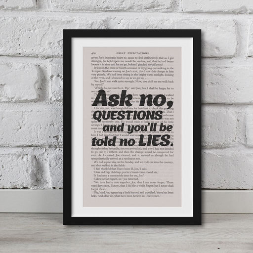 Great Expectations Book Page Art Ask No Questions And Be Told No Lies Print