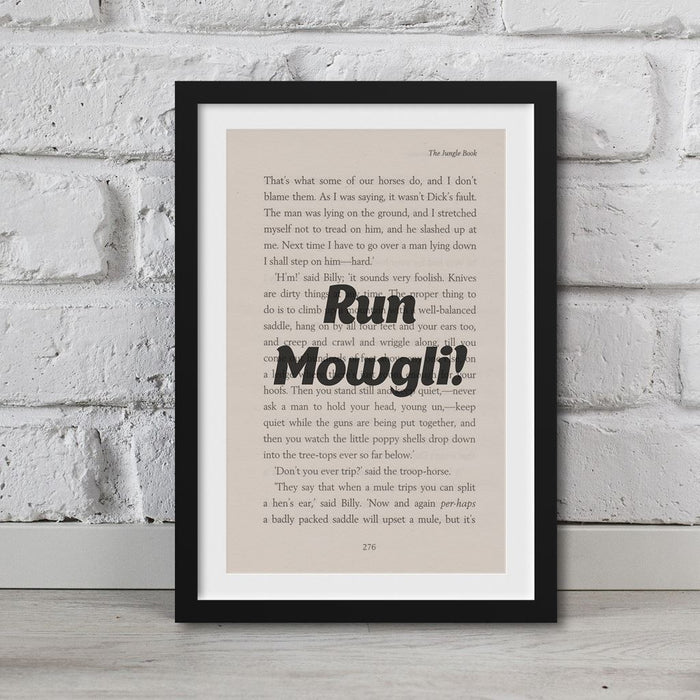 Jungle Book - Book Page Art Run Mowgli! Print Quote