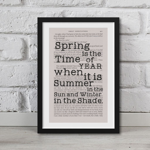 Great Expectations Book Page Art Spring Is The Time Of Year Print