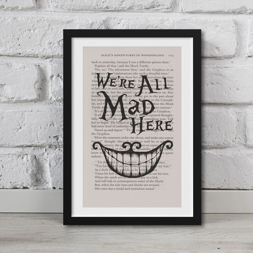 Alice in Wonderland cheshire cat Print on book page