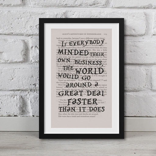 Alice In Wonderland Book Page Art If Everybody Minded Their Own Business Print