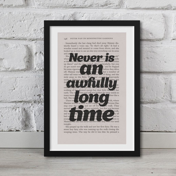 Peter Pan Book Page Art Never Is An Awfully Long Time Print Quote