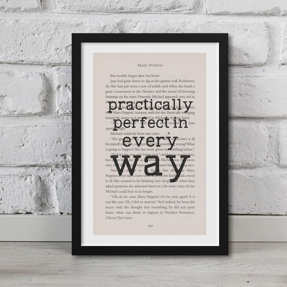 Mary Poppins Book Page Art Practically Perfect In Every Way Print