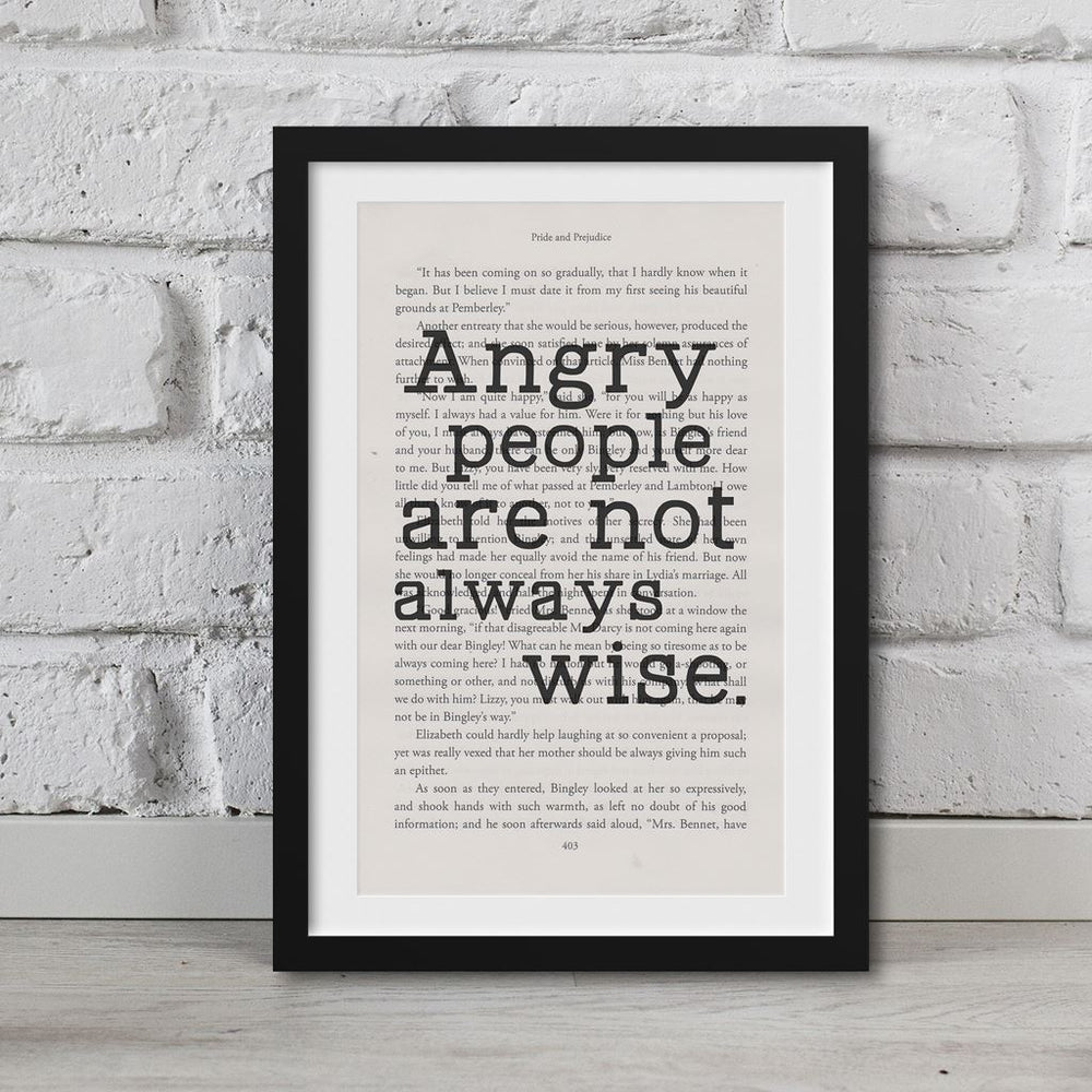 Pride And Prejudice Book Page Art Angry People Are Not Always Wise Print