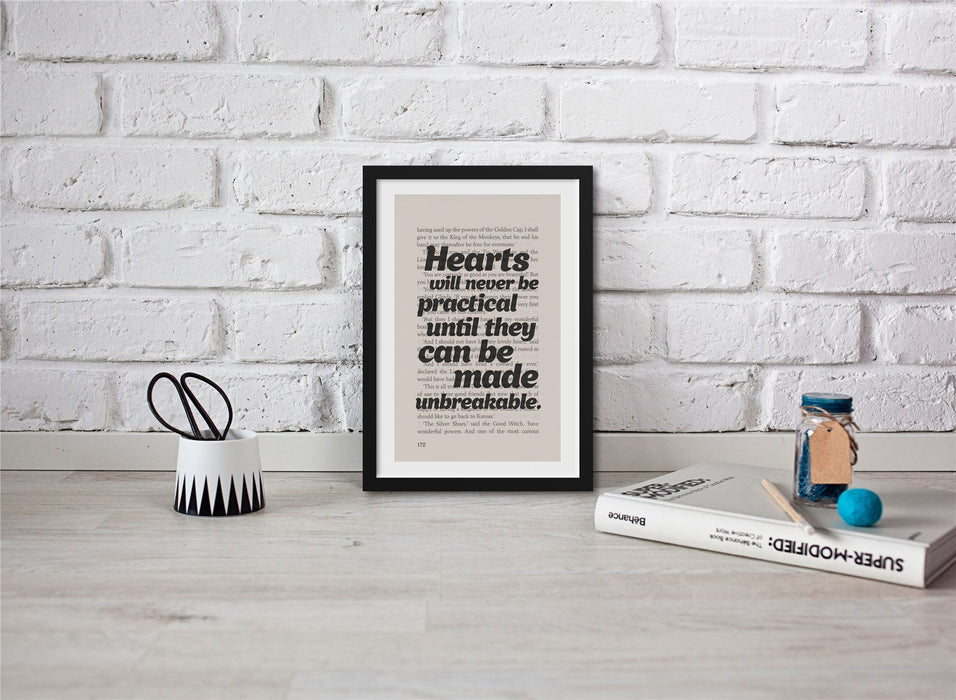 The Wonderful Wizard Of Oz Book Page Art Hearts Will Never Be Practical Print