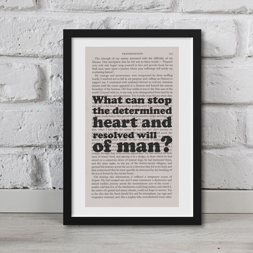 Frankenstein Quotes Book Page Art What Can Stop The Determined Print