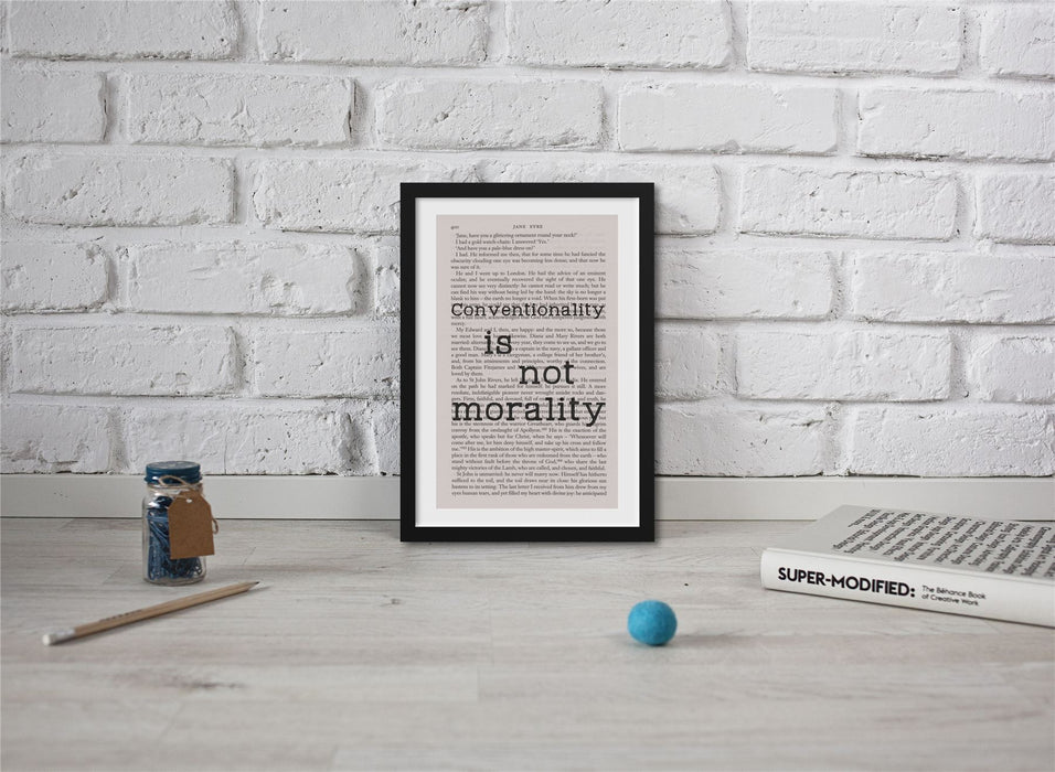 Jane Eyre Book Page Art Conventionality Is Not Morality Print Quote