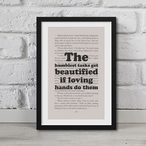 Little Women Book Page Art The Humblest Tasks Print Quote