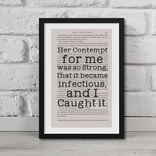 Great Expectations Book Page Art Her Contempt For Me Was So Strong Print