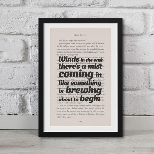 Mary Poppins Book Page Art Winds In The East Print Quote