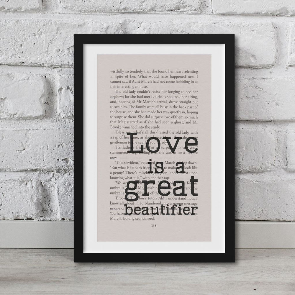 Little Women Book Page Art Love Is A Great Beautifier Print Quote