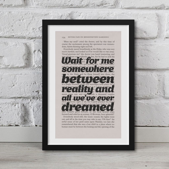 Peter Pan Book Page Art Wait For Me Somewhere Print Quote