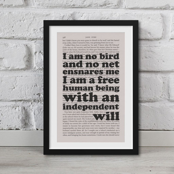 Jane Eyre Book Page Art I Am A Free Human Being Print Quote