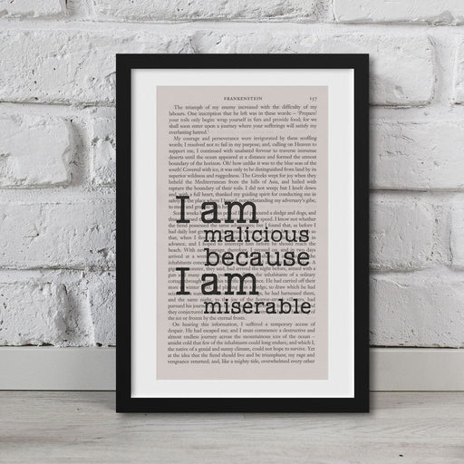 Frankenstein Quotes Book Page Art I Am Malicious Print Quote