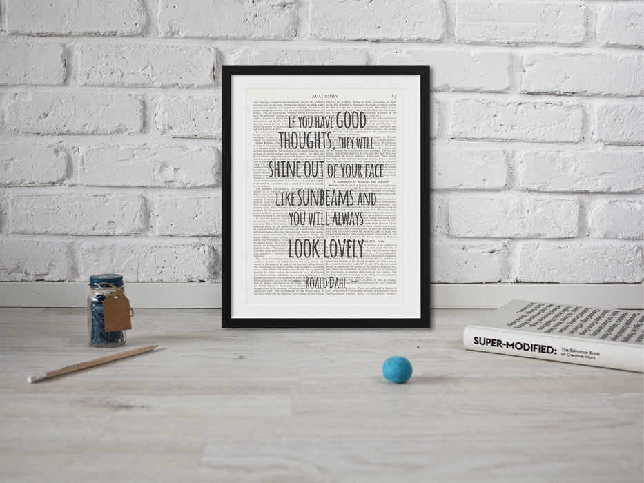 Vintage dictionary page print Roald Dahl quote