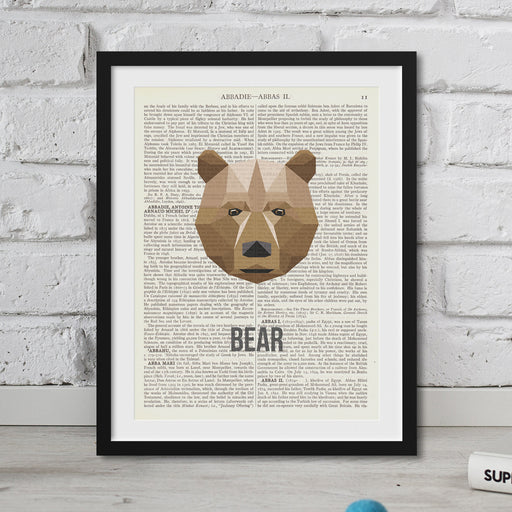 Abstract Bear Print on vintage dictionary pages