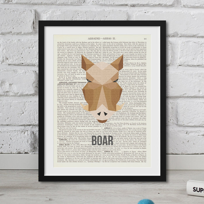 Abstract Boar Print vintage dictionary art
