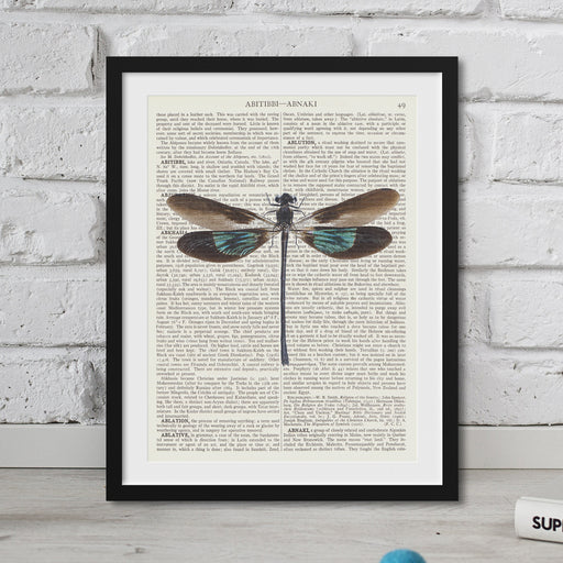 DRAGONFLIES ART PRINT on vintage dictionary paper
