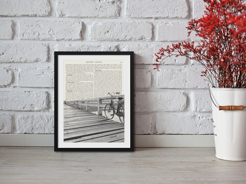 Retro Bike On Bridge Print