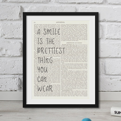 A Smile Is The Prettiest Thing Quote dictionary art prints