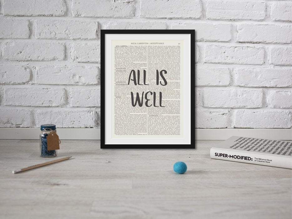 All Is Well Quote wall art