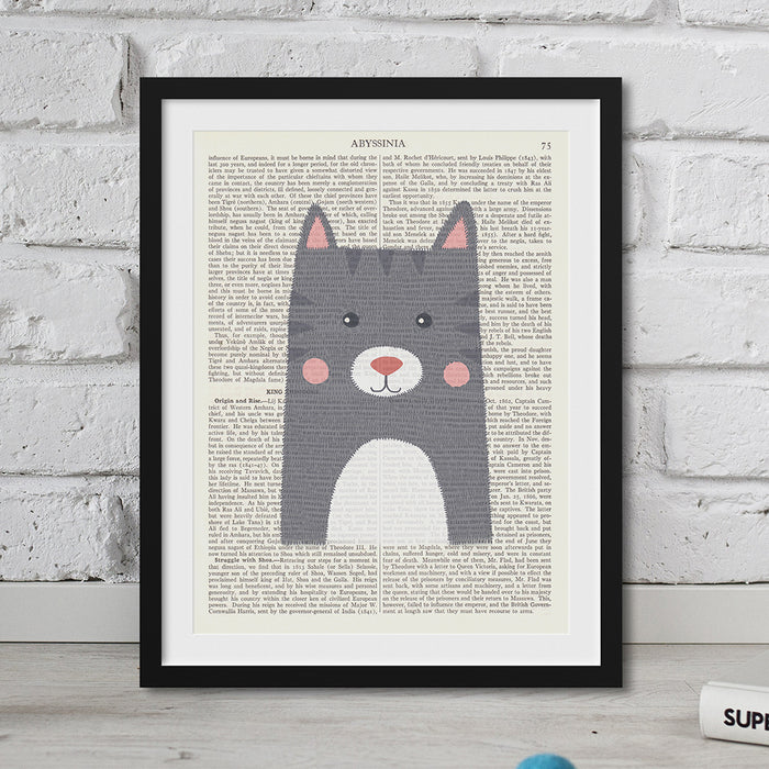 Cat grey Nursery Art