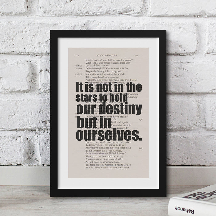 gifts for shakespeare lovers Quote It is not in the stars to hold our destiny but in ourselves.
