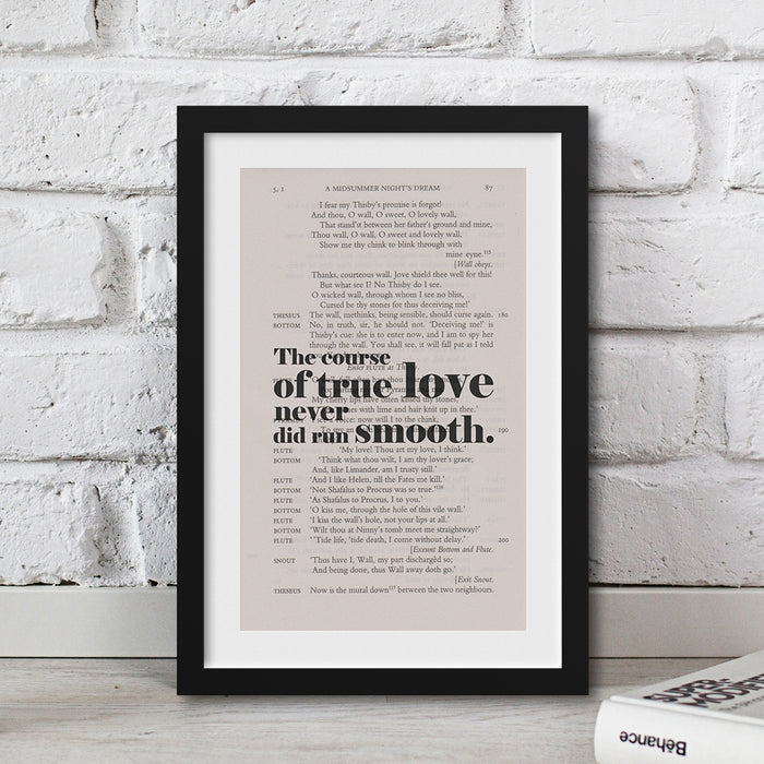 The course of true love never did run smooth. Book Page Print