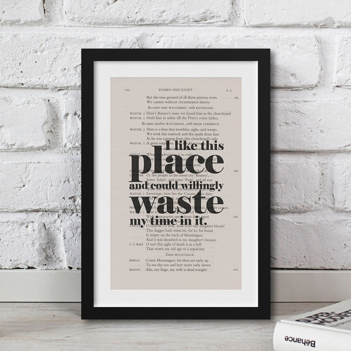Housewarming gifts for readers of Shakespeare I Like This Place  quote