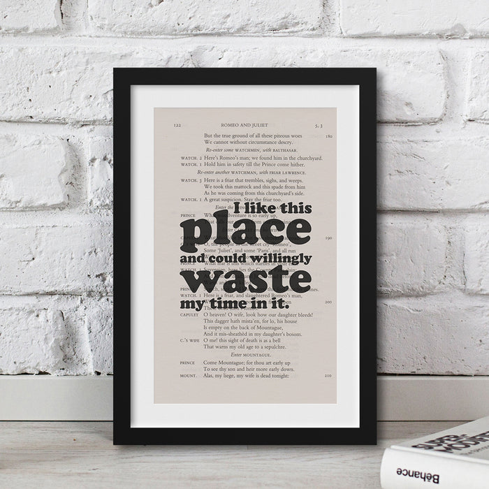 I like this place and could willingly waste my time in it. quote printed artwork