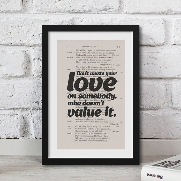 Shakespeare broken heart quote print artwork